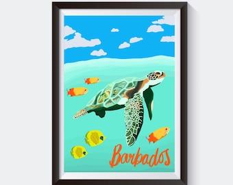 Barbados Turtle Travel Poster