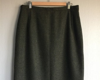 Tweed Pencil Skirt Wool Tweed Skirt Classic Tweed Skirt Green Womens Midi Skirt Handmade With Zip And Lining Office Skirt