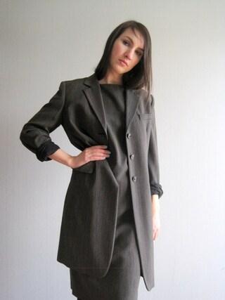 Women's Wool Suit Max Mara Dress and Coat Two Piece Suit Designer Clothing Women's Business Outfit Secretary Suit Dress