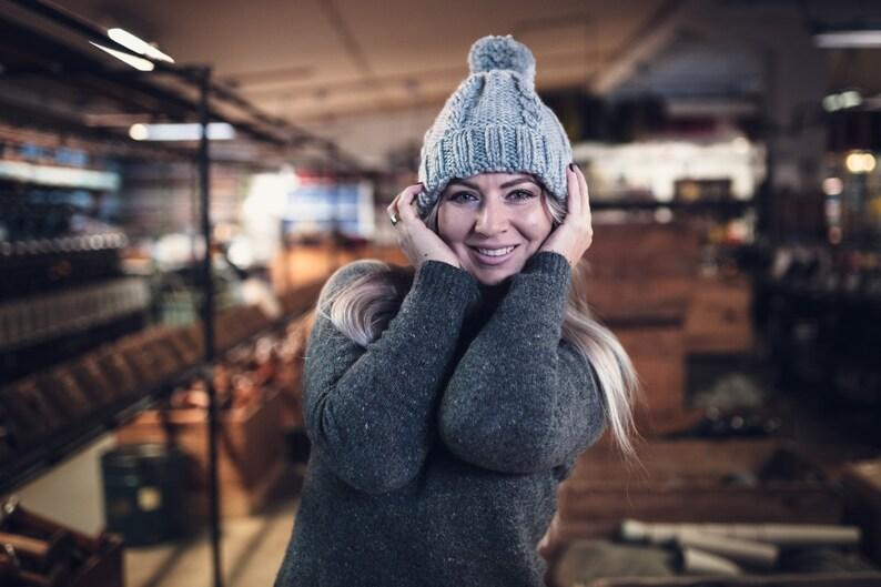Pom Pom Beanie Hat Vegan Pom Pom Hat Knit Beanie Knitted Hat Gray Knit Hat Yellow Beanie Knit Unisex Hat One Size