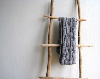 Mens Scarf Knitted Gray Handknit Alpaca Unisex Scarves Gift For Him Mens Scarves Birthday Gift