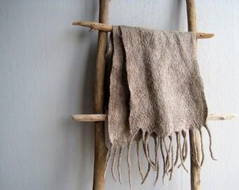 Scarf men felted scarf classic oatmeal wool scarf men handmade scarf fringes unisex scarf