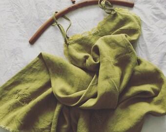 Green Linen Dress Women's Linen Summer Dress Sarafan Spaghetti Strap Dress Boho Bohemian Linen Dress Green XS-S Spaghetti Straps Dress