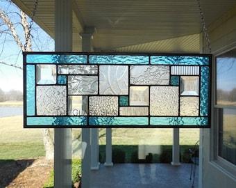 Stained Glass Panel Aqua Blue Window Transom