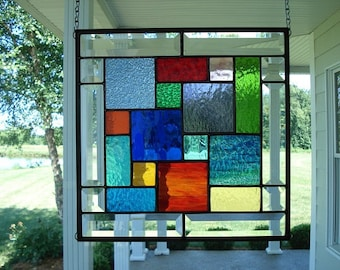 Stained Glass Window Panel Multi Colors & Bevels Approx Size: 12 inches x 12 inches