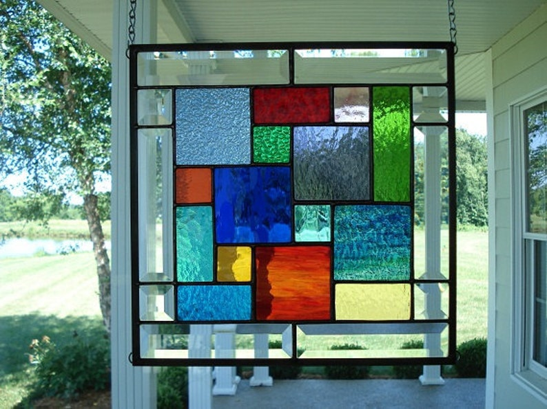 Stained Glass Window Panel Multi Colors & Bevels image 0
