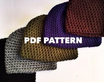 One Hour Mens Beanie Crochet Pattern- Bulky Mens Beanie Hat Pattern- Quick  and Easy Crochet Beanie Pattern for Men- Instant Download e08078fedf8