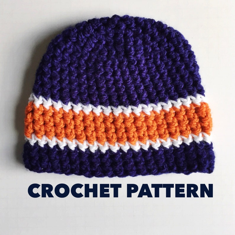 Triple Stripe Chunky Beanie Crochet Pattern Mens Beanie Hat Pattern ... 679bed8e3a5