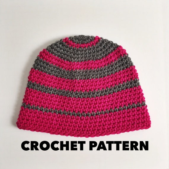 Crochet Striped Beanie Pattern Thick n Thin Beanie Hat  42da7653cd6