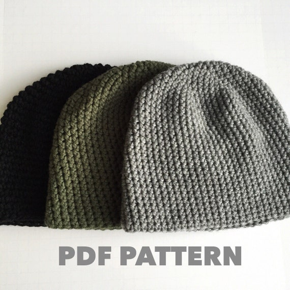 Pattern Mens Easy Hat Crochet Beanie Seamless Simple Basic Classic