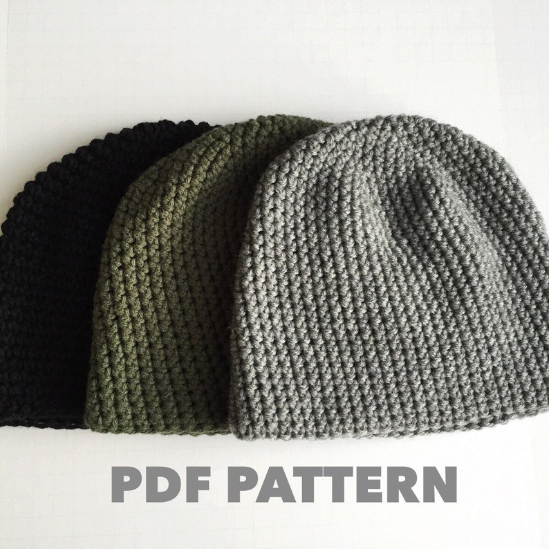 Crochet Pattern Mens Easy Beanie Hat Crochet Hat Pattern For Etsy