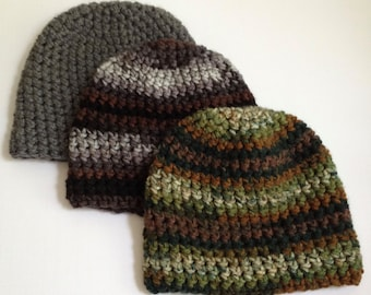 One Hour Mens Beanie Crochet Pattern- Bulky Gray Mens Beanie Hat Pattern- Quick and Easy Crochet Beanie Pattern for Men- Instant Download