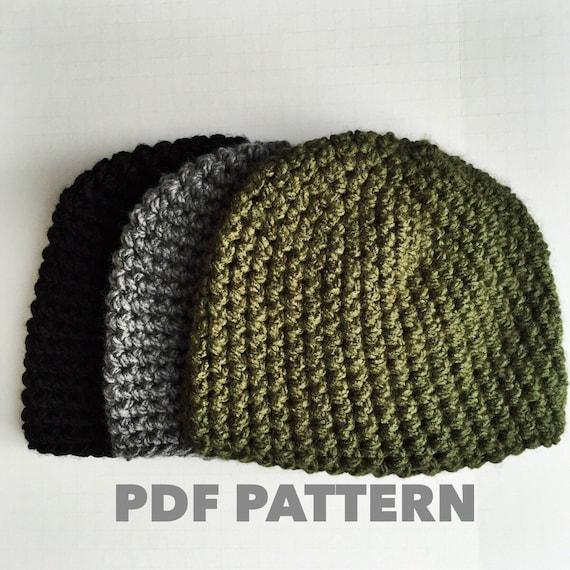 One Hour Mens Beanie Crochet Pattern Bulky Gray Mens Beanie Etsy