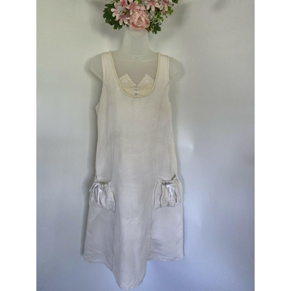 Vintage Lady Cotton Linen Lace Dress Midi Sleevele