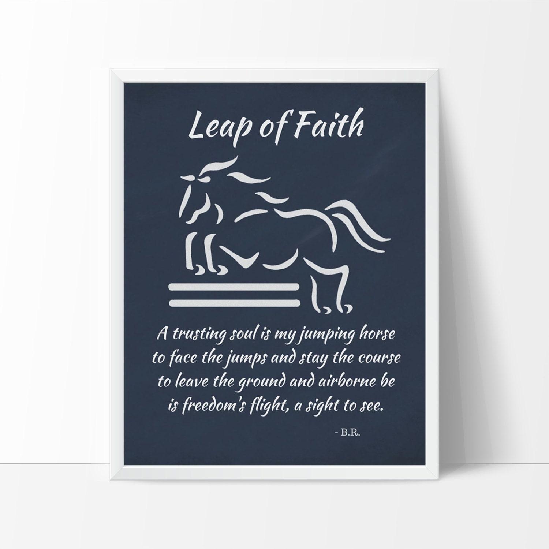 Springende Pferd Kunstdruck Sprung des Glaubens Design & | Etsy