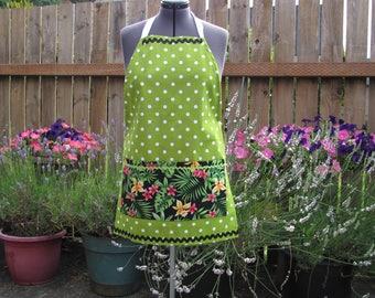 Cotton hostess apron, apple green polka dots