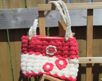 Handmade crochet purse with vintage yarn, buttons and embroidery