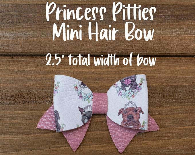 """Princess Pitties 2.5"""" Mini Hair Bow Option of Clip or Nylon Headband  Ready To Ship"""