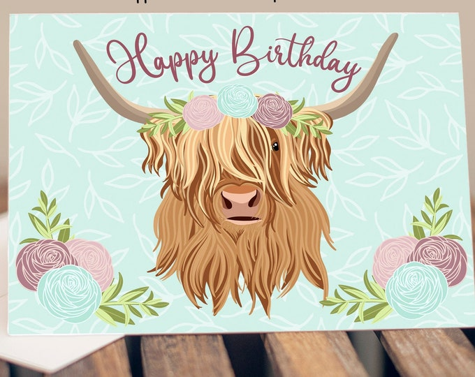 """5x7"""" Floral Highland Cow Birthday Greeting Card *FAST SHIPPING*"""