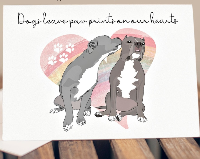 "5x7"" Pit Bull Dog Loss Sympathy Card Pitbull Rainbow Bridge Greeting Card *FAST SHIPPING*"