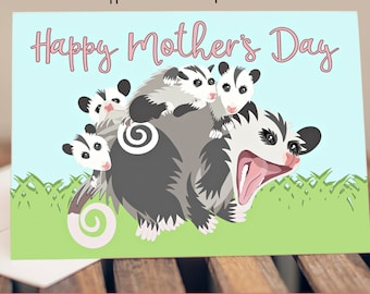 "5x7"" Opossum Happy Mother's Day Greeting Card Possum Babies  *FAST SHIPPING*"