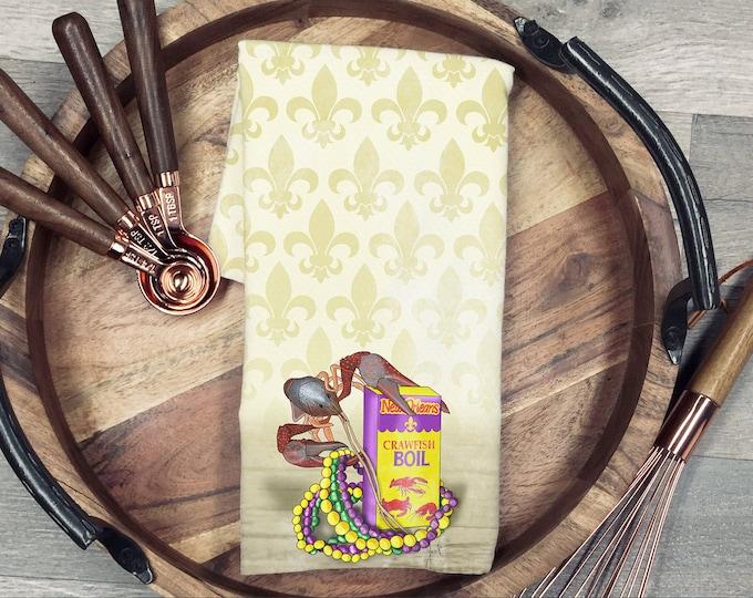 Mardi Gras Crawfish Tea Towel Louisiana Kitchen Housewarming Wedding Gift