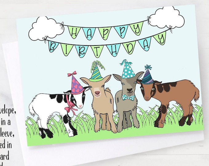 """5x7"""" Baby Goats Happy Birthday Greeting Card  *FAST SHIPPING*"""