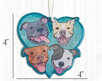 Pitbulls on Teal Blue Heart Resin Pit Bull Christmas Ornament