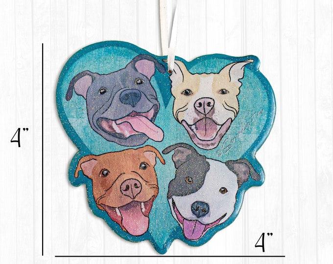 Pitbulls on Teal Blue Heart Resin Pit Bull Christmas Ornament