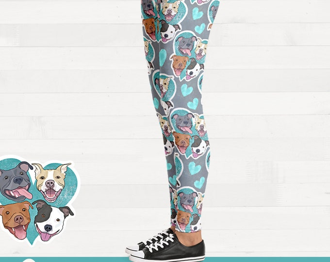 Pit bull Faces on Teal Heart Pitbull Womens Brushed Suede Pit Bull Leggings FREE SHIPPING