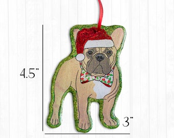French Bulldog Resin Christmas Frenchie Ornament