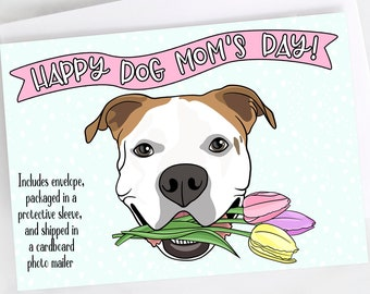 "5x7"" Happy Dog Mom's Day Greeting Card Mother's Day American Bulldog Mom *FAST SHIPPING*"