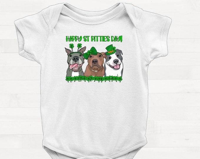 Happy St Pitties Day! Short Sleeve Infant Pitbull Saint Patricks Day Onesie Pit Bull Baby Shower Gift