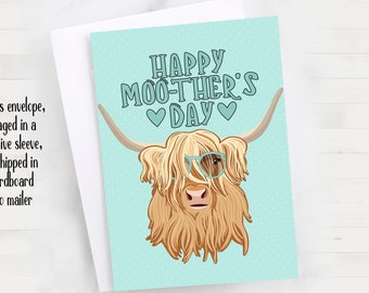 "5x7"" Highland Cow Happy Moo-ther's Day Greeting Card *FAST SHIPPING*"