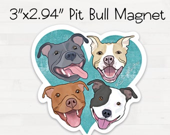 Pitbull Magnet Pit Bull Heart Fridge Refrigerator Car Magnet Housewarming Birthday Pit Bull Lovers Gift FREE SHIPPING