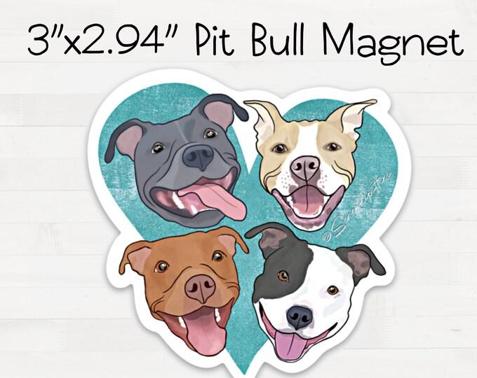Pitbull Magnet Pit Bull Heart Fridge Refrigerator Car Magnet Housewarming Birthday Pit Bull Lovers Gift FREE SHIPPING