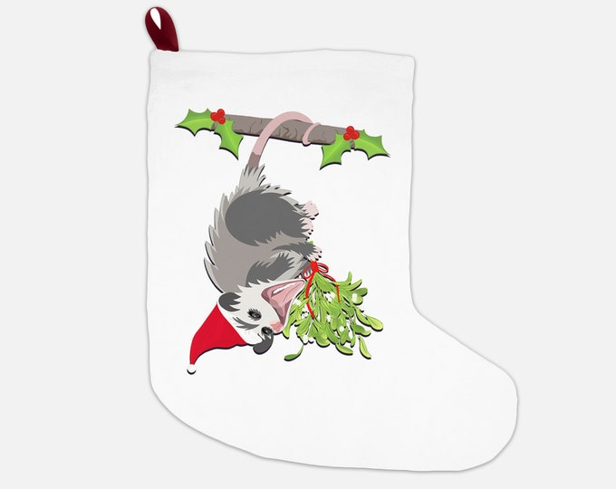 """Christmas Stocking """"Hanging Opossum"""" 12x20"""" Possum Christmas Holiday Opossums Decor"""