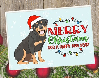 "5x7"" Rottweiler Merry Christmas Happy New Year Card Rottie Fast SHIPPING"