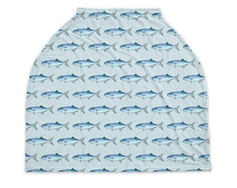 Blue Fish Infant Nursing Cover Carseat Shopping Cart Cover Fishing Nursery