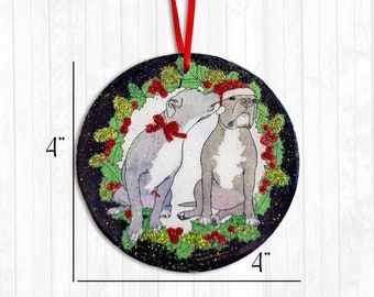 Kissing Christmas Pitbulls Resin Ornament