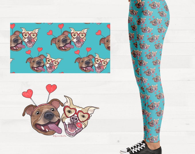 Pittie Kisses Valentine Pitties Pitbull Womens Leggings Brushed Suede Pit Bull Valentines Day Outfit FREE SHIPPING