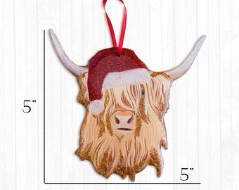 Highland Cow Resin Christmas Ornament