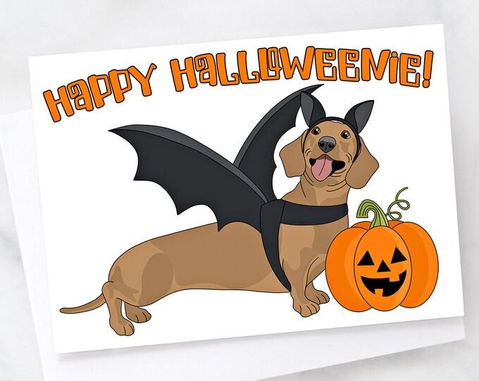 "5x7"" ""Happy Halloweenie"" Halloween Dachshund Greeting Card Weiner Dog  FAST SHIPPING"
