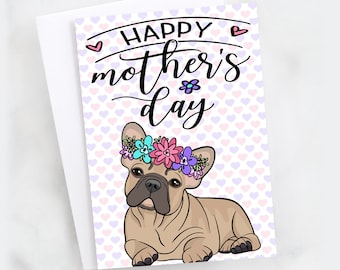 "5x7"" Happy Mother's Day Greeting Card Dog Mom French Bulldog Fawn Frenchie Flower Crown *FAST SHIPPING*"