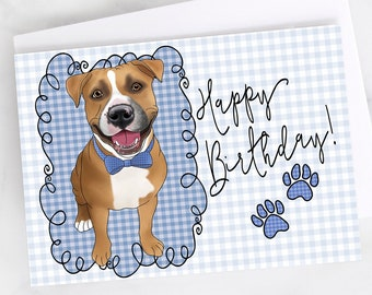 "5x7"" Red and White Pit Bull Plaid Happy Birthday Greeting Card Pitbull Pittie Pibble FAST SHIPPING"