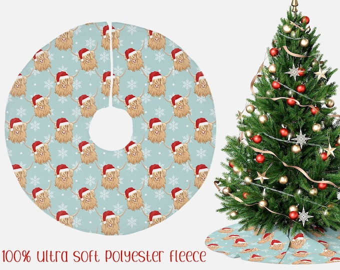 """Christmas Tree Skirt """"Highland Cows"""" 44"""" Christmas Santa hats Highland Cow Holiday Decor"""