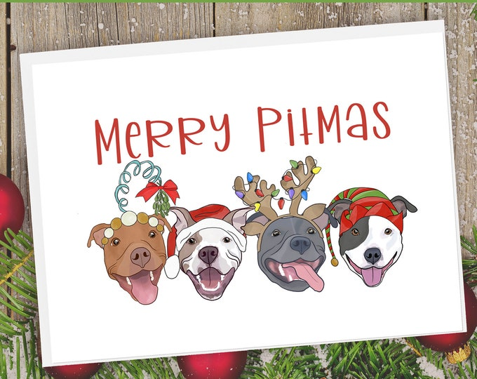 "5x7"" ""Merry Pitmas"" Christmas Card Pit Bull Pitbull Pittie Pibble Pitbulls Holiday Horizontal Orientation FAST SHIPPING"
