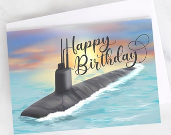 "5x7"" Submarine Sunset Happy Birthday Greeting Card  FAST SHIPPING"