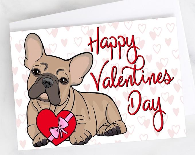 "5x7"" French Bulldog ""Happy Valentines Day"" Valentine Card Frenchie French Bull Dog Greeting Card"