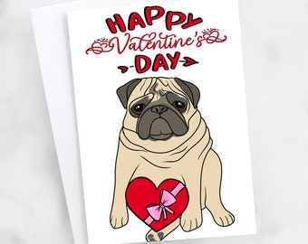 "5x7"" Pug ""Happy Valentine's Day"" Greeting Card"